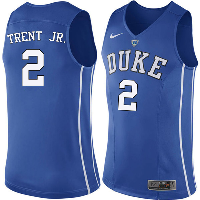 Men Duke Blue Devils #2 Gary Trent Jr. College Basketball Jerseys Sale-Blue