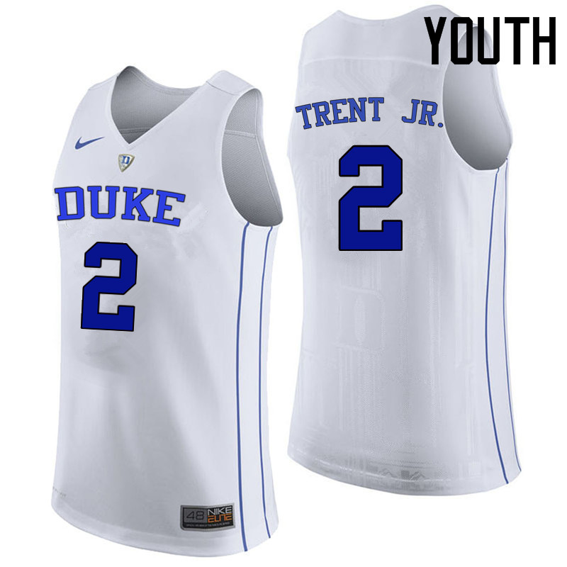 Youth Duke Blue Devils #2 Gary Trent Jr. College Basketball Jerseys Sale-White