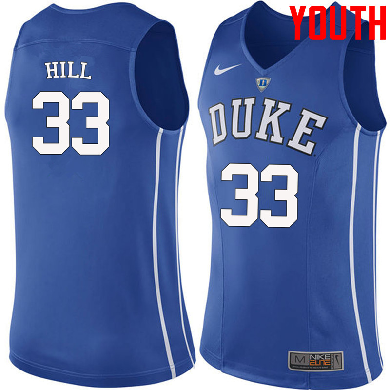 Youth #33 Grant Hill Duke Blue Devils College Basketball Jerseys-Blue