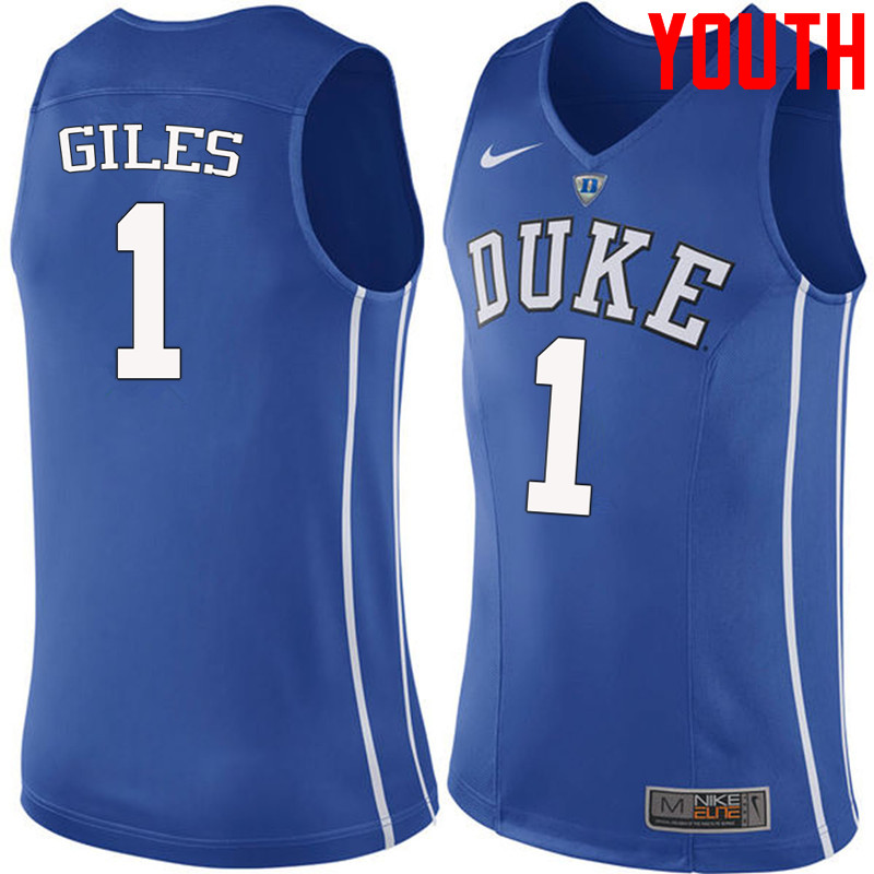 Youth #1 Harry Giles Duke Blue Devils College Basketball Jerseys-Blue