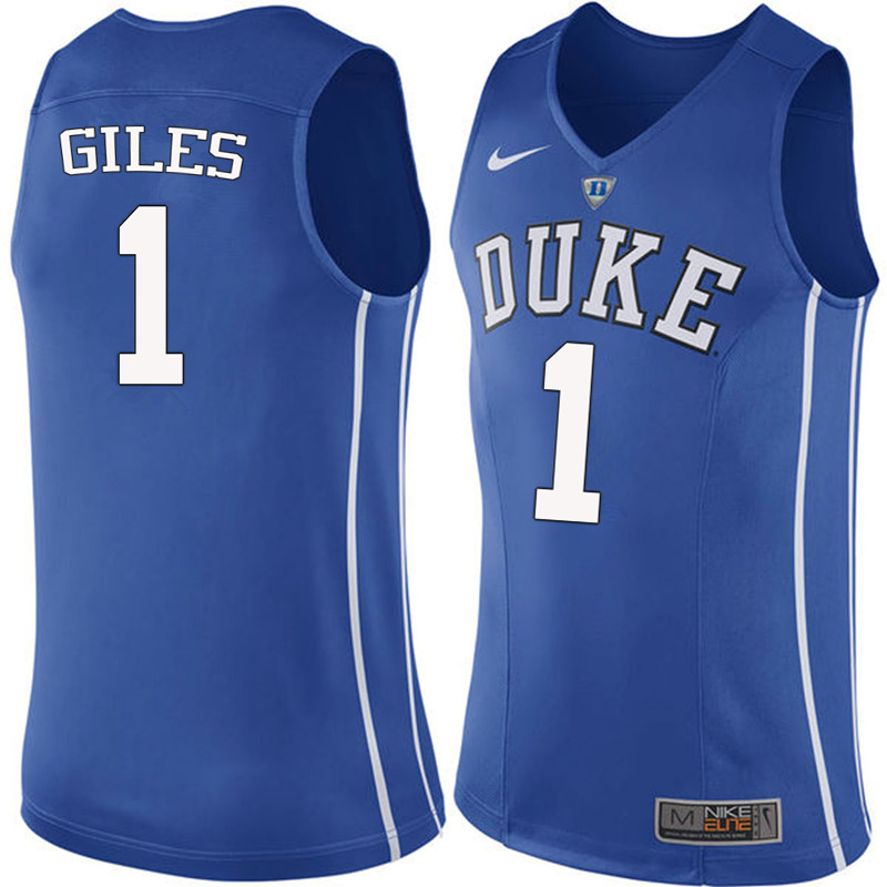 Men #1 Harry Giles Duke Blue Devils College Basketball Jerseys-Blue