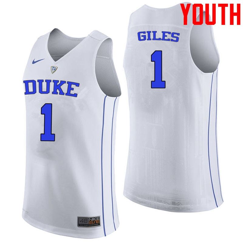 Youth #1 Harry Giles Duke Blue Devils College Basketball Jerseys-White