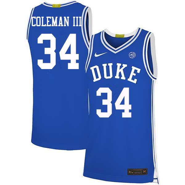 Men #34 Henry Coleman III Duke Blue Devils College Basketball Jerseys Sale-Blue
