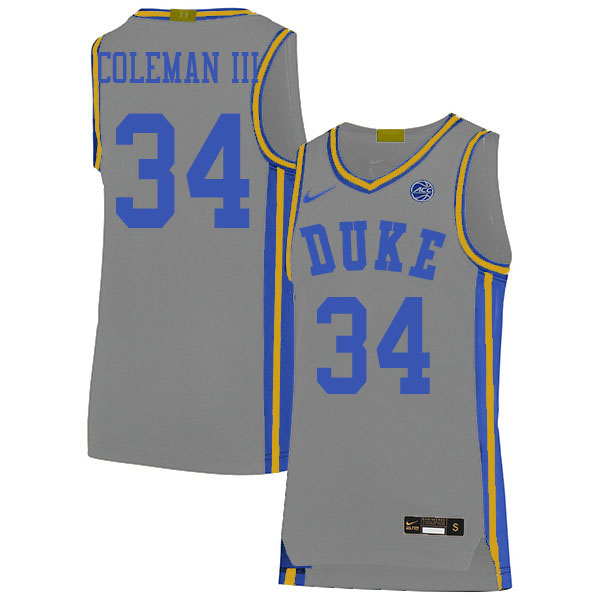 Men #34 Henry Coleman III Duke Blue Devils College Basketball Jerseys Sale-Gray