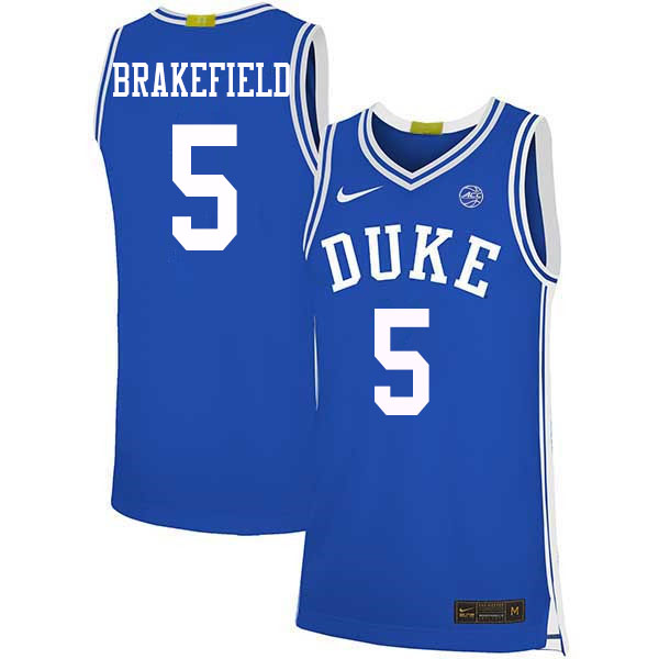 Men #5 Jaemyn Brakefield Duke Blue Devils College Basketball Jerseys Sale-Blue
