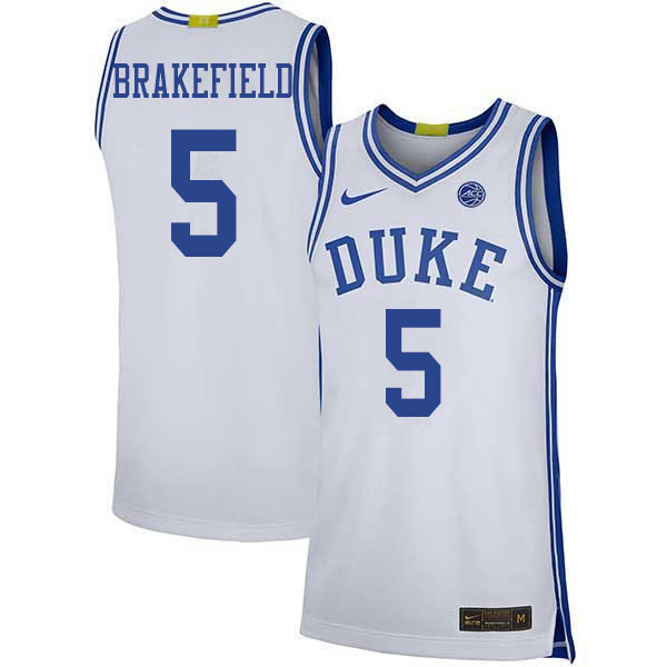 Men #5 Jaemyn Brakefield Duke Blue Devils College Basketball Jerseys Sale-White