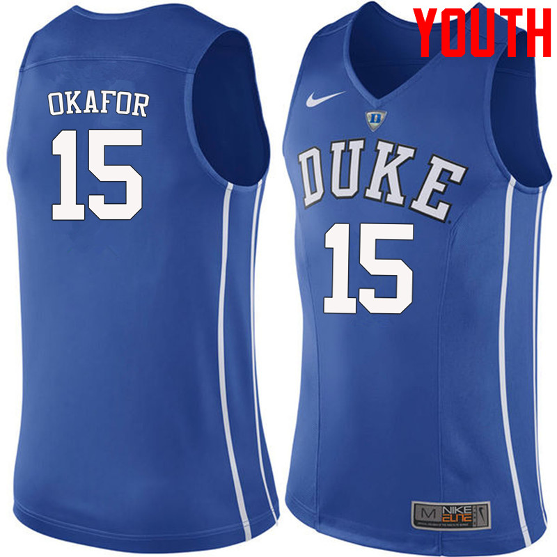 Youth #15 Jahlil Okafor Duke Blue Devils College Basketball Jerseys-Blue