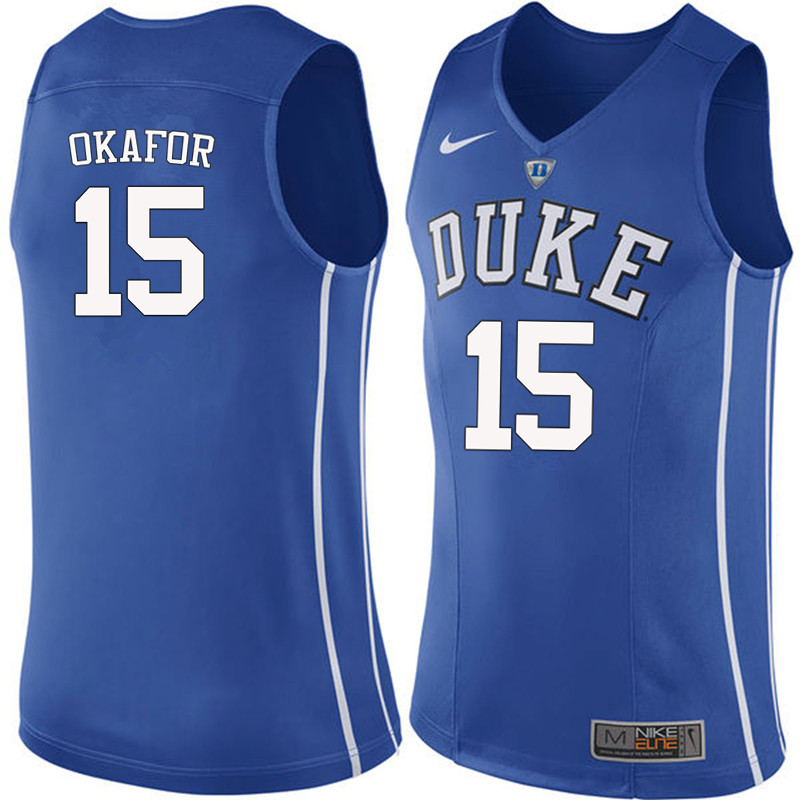 Men #15 Jahlil Okafor Duke Blue Devils College Basketball Jerseys-Blue