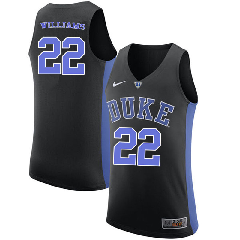 Men #22 Jason Williams Duke Blue Devils College Basketball Jerseys-Black