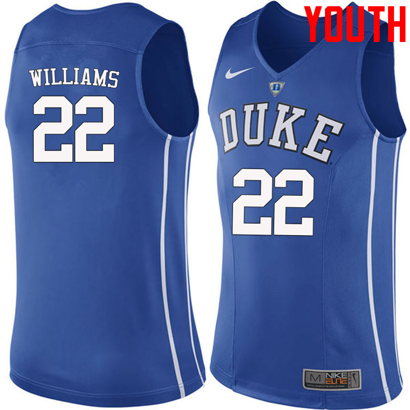Youth #22 Jason Williams Duke Blue Devils College Basketball Jerseys-Blue