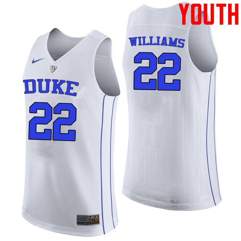 Youth #22 Jason Williams Duke Blue Devils College Basketball Jerseys-White