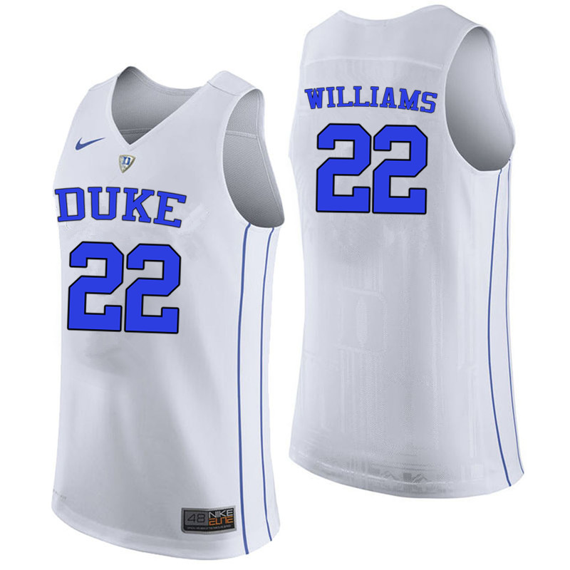 Men #22 Jason Williams Duke Blue Devils College Basketball Jerseys-White
