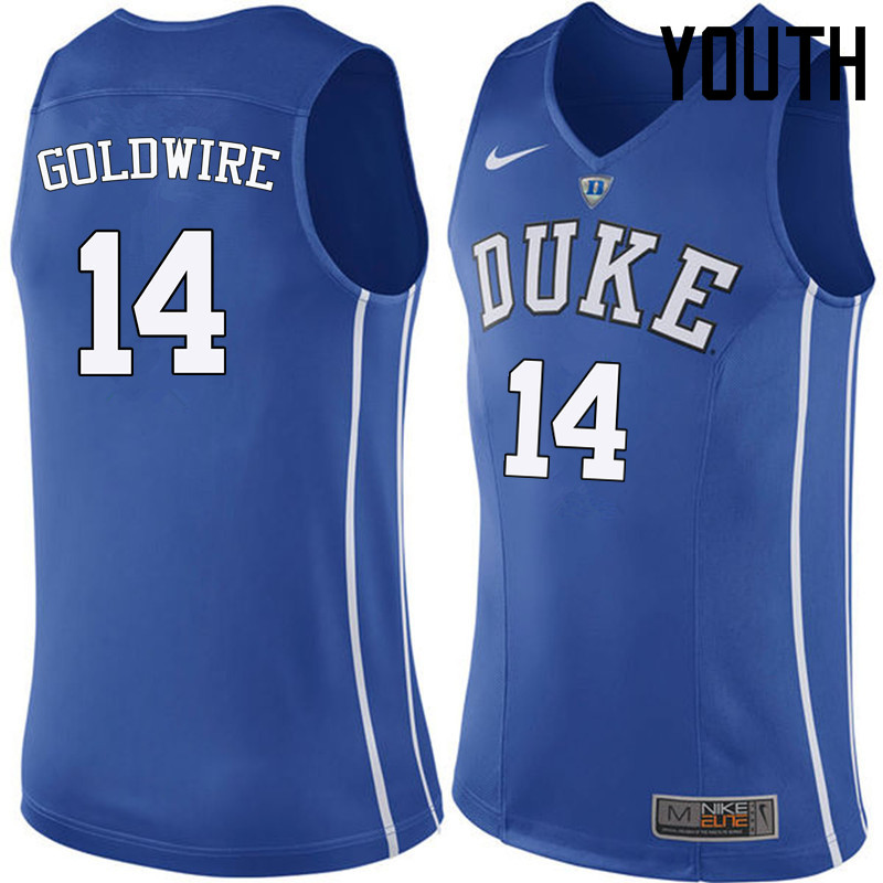 Youth Duke Blue Devils #14 Jordan Goldwire College Basketball Jerseys Sale-Blue