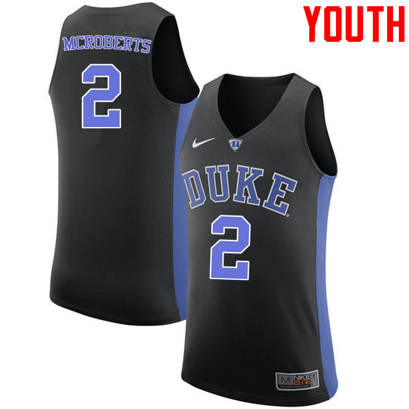 Youth #2 Josh McRoberts Duke Blue Devils College Basketball Jerseys-Black