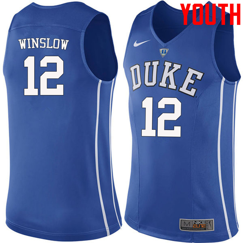 Youth #12 Justise Winslow Duke Blue Devils College Basketball Jerseys-Blue