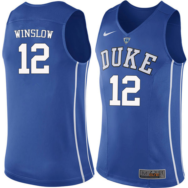 Men #12 Justise Winslow Duke Blue Devils College Basketball Jerseys-Blue