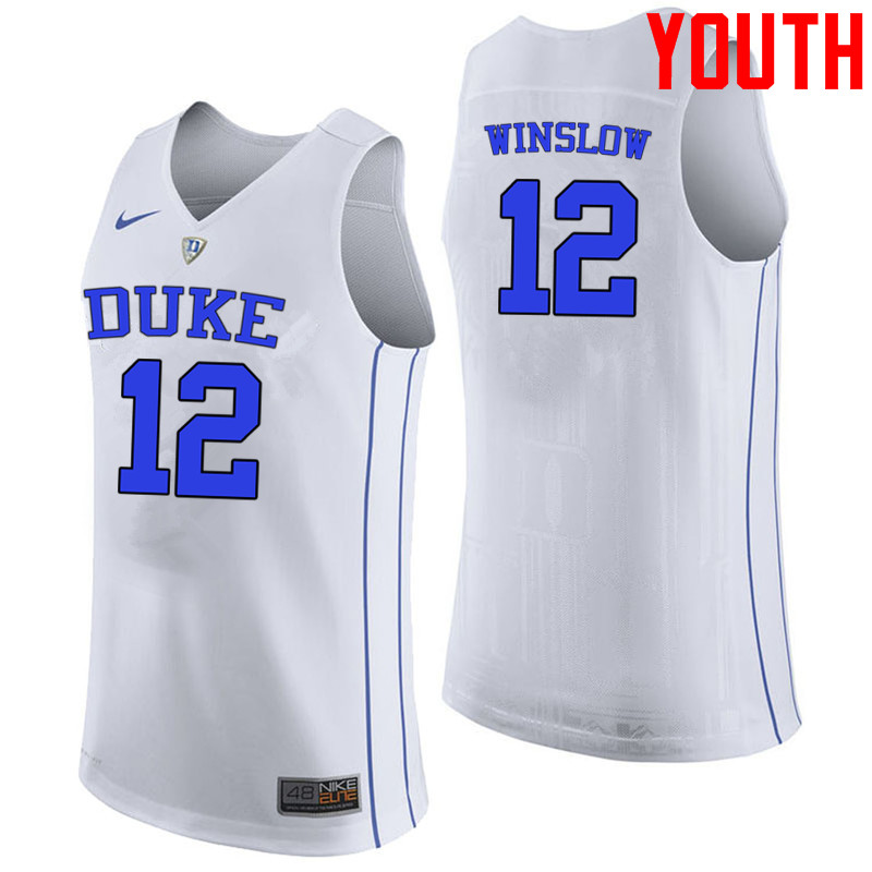 Youth #12 Justise Winslow Duke Blue Devils College Basketball Jerseys-White