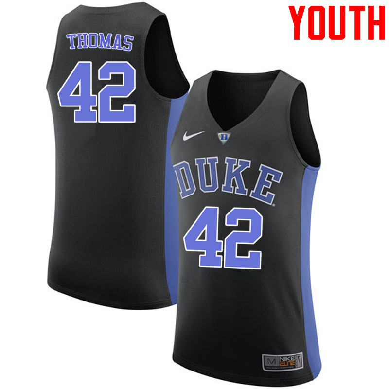 Youth #42 Lance Thomas Duke Blue Devils College Basketball Jerseys-Black