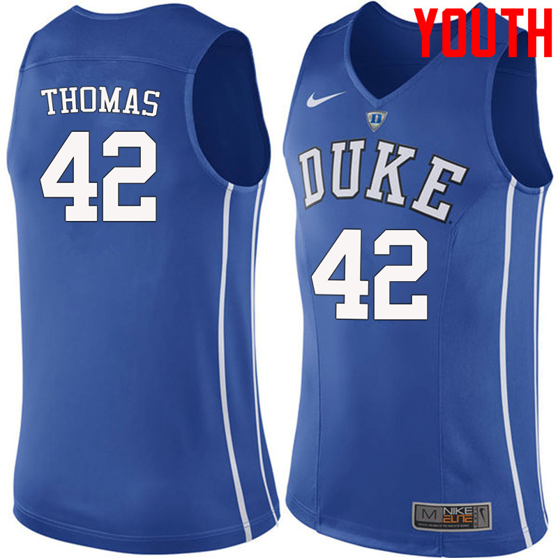 Youth #42 Lance Thomas Duke Blue Devils College Basketball Jerseys-Blue