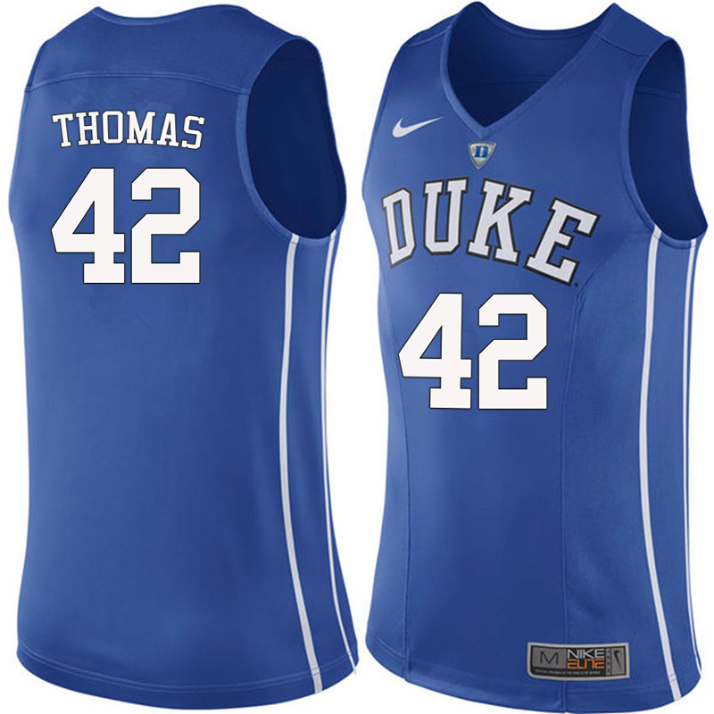 Men #42 Lance Thomas Duke Blue Devils College Basketball Jerseys-Blue
