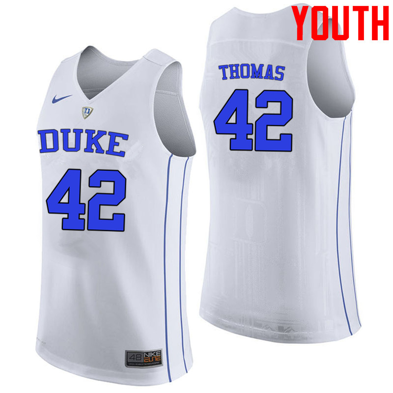 Youth #42 Lance Thomas Duke Blue Devils College Basketball Jerseys-White