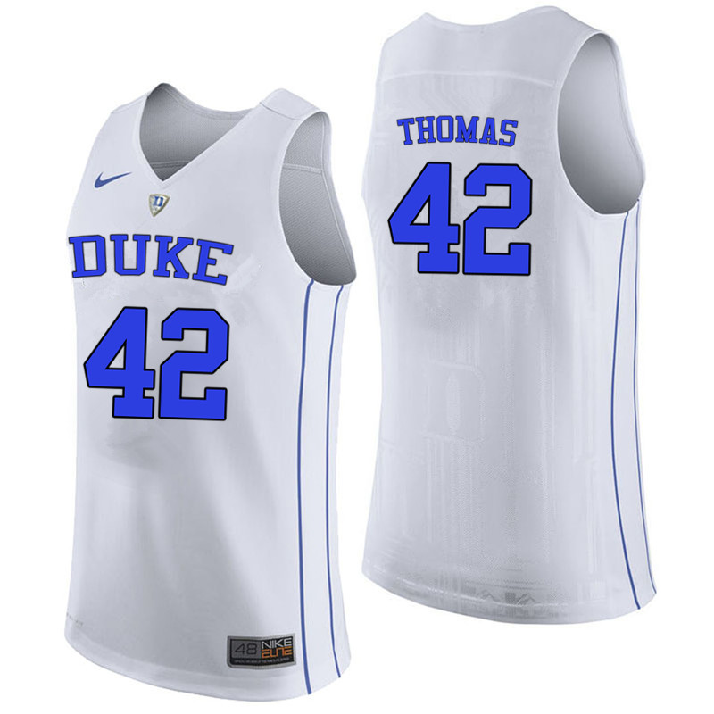 Men #42 Lance Thomas Duke Blue Devils College Basketball Jerseys-White