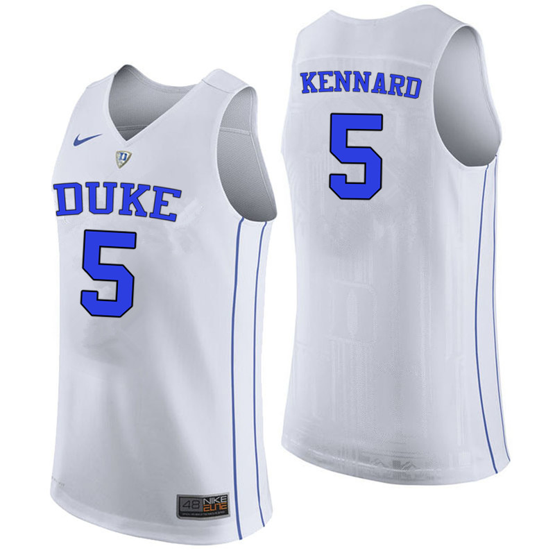 Men #5 Luke Kennard Duke Blue Devils College Basketball Jerseys-White