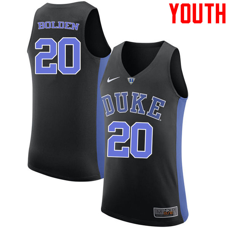 Youth #20 Marques Bolden Duke Blue Devils College Basketball Jerseys-Black