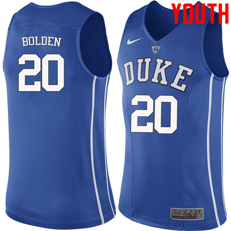 Youth #20 Marques Bolden Duke Blue Devils College Basketball Jerseys-Blue