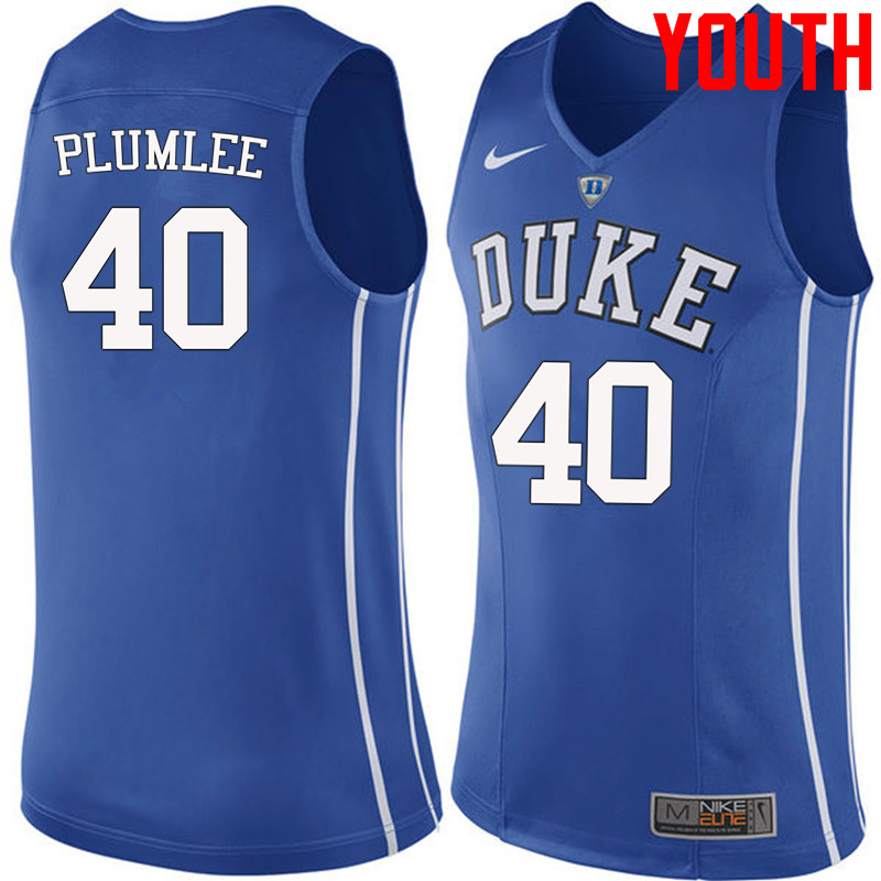 Youth #40 Marshall Plumlee Duke Blue Devils College Basketball Jerseys-Blue