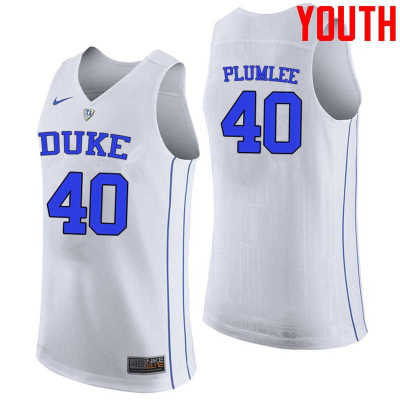 Youth #40 Marshall Plumlee Duke Blue Devils College Basketball Jerseys-White