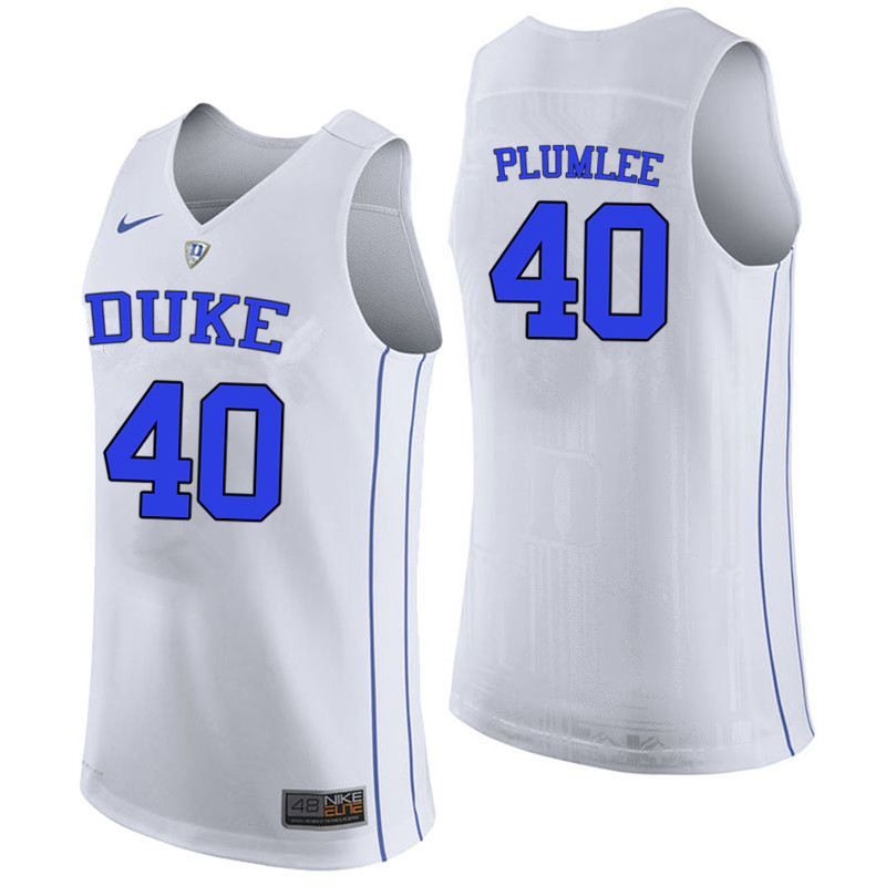 Men #40 Marshall Plumlee Duke Blue Devils College Basketball Jerseys-White
