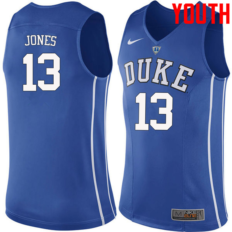 Youth #13 Matt Jones Duke Blue Devils College Basketball Jerseys-Blue