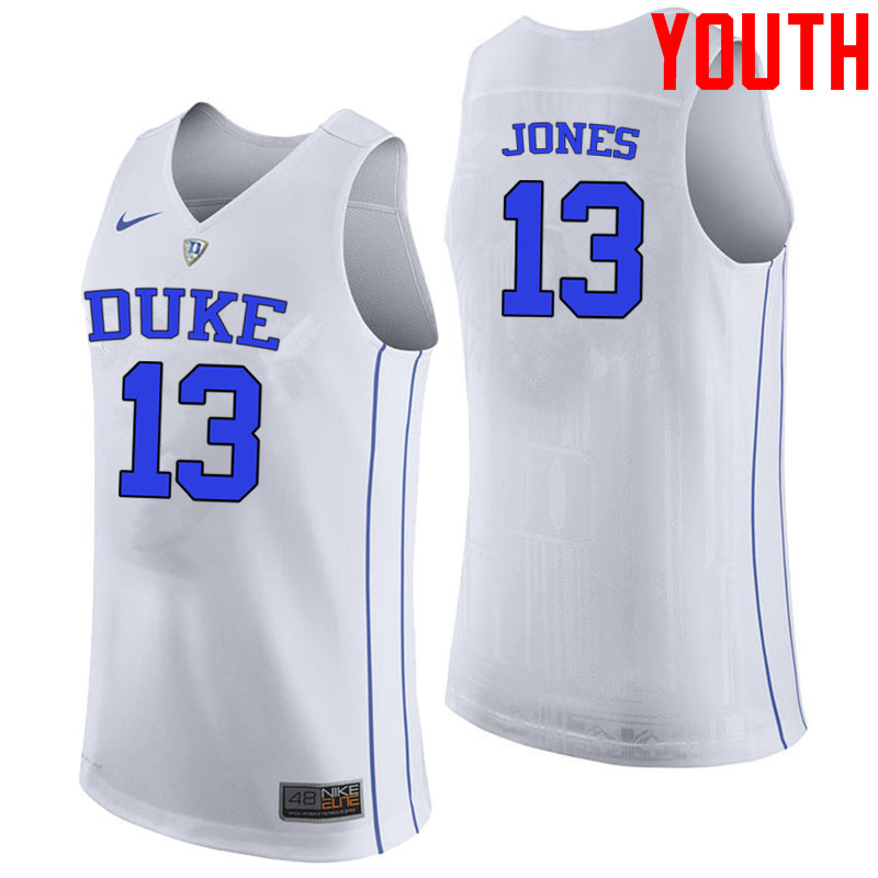 Youth #13 Matt Jones Duke Blue Devils College Basketball Jerseys-White