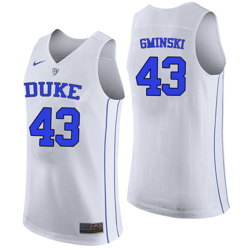 Men #43 Mike Gminski Duke Blue Devils College Basketball Jerseys-White