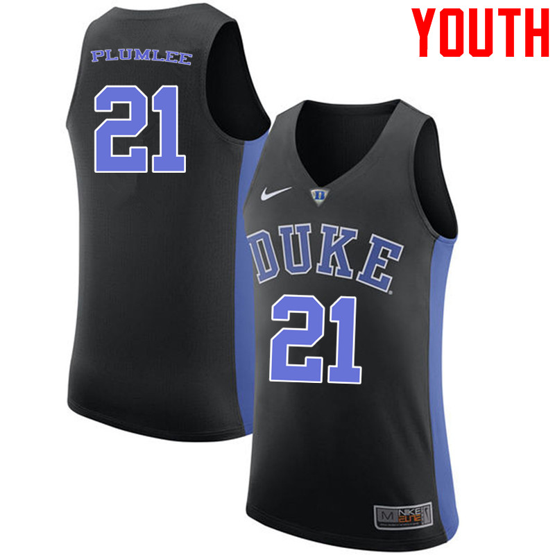 Youth #21 Miles Plumlee Duke Blue Devils College Basketball Jerseys-Black
