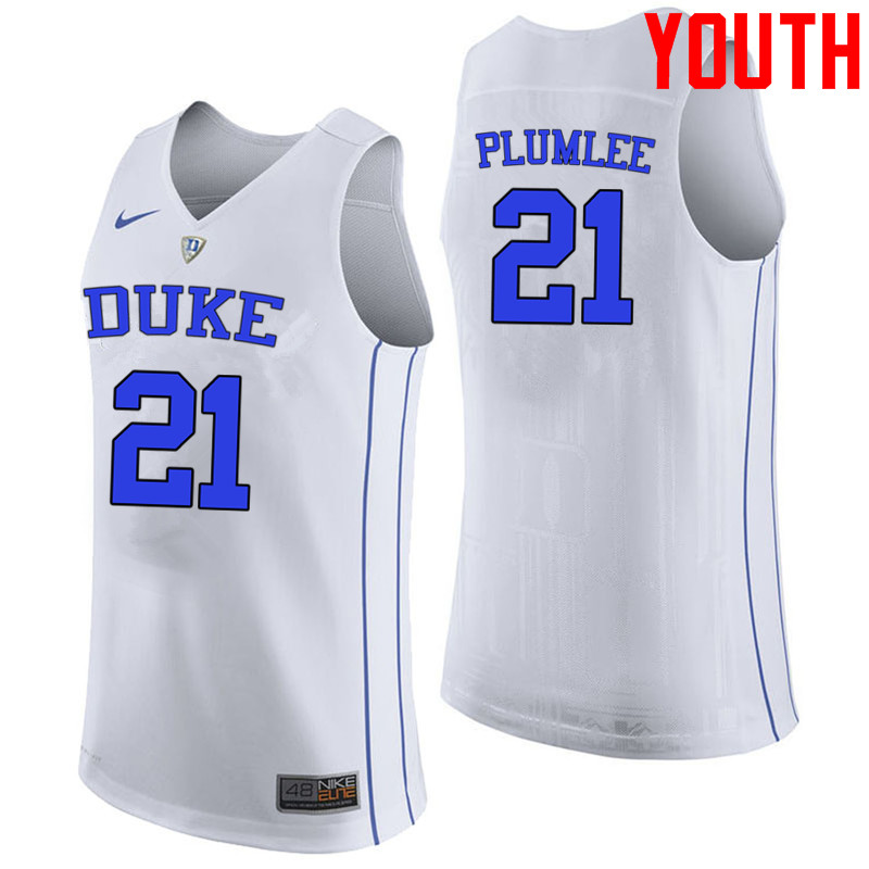 Youth #21 Miles Plumlee Duke Blue Devils College Basketball Jerseys-White