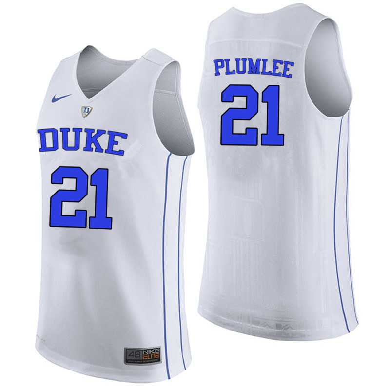 Men #21 Miles Plumlee Duke Blue Devils College Basketball Jerseys-White