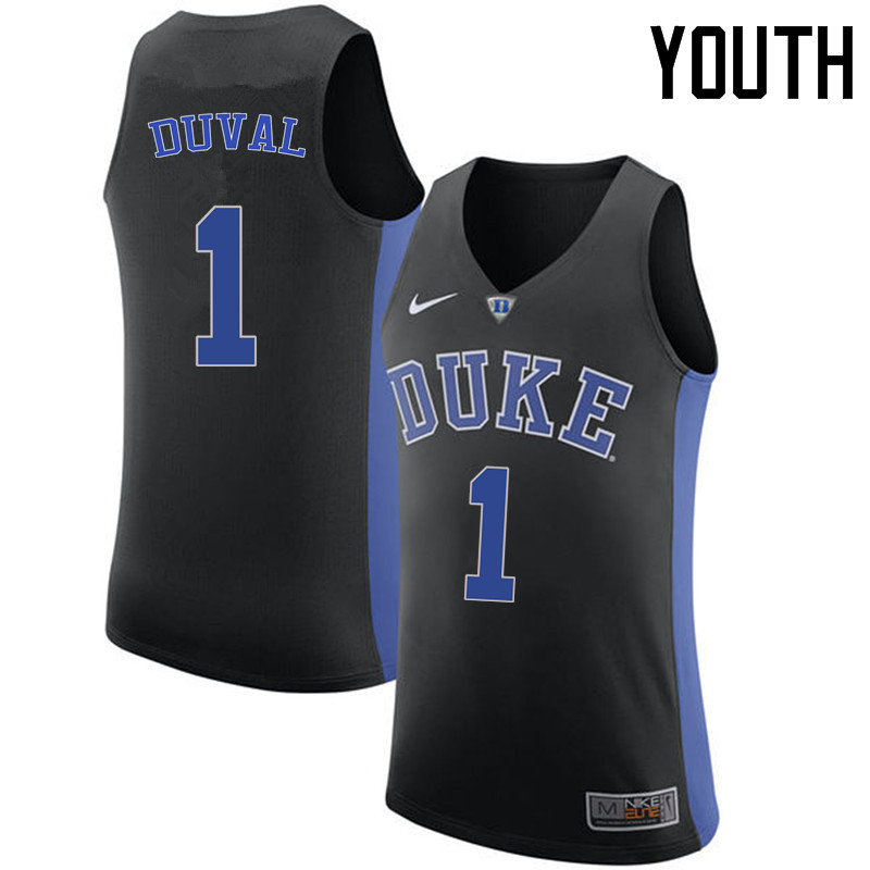 Youth Duke Blue Devils #1 Trevon Duval College Basketball Jerseys Sale-Black