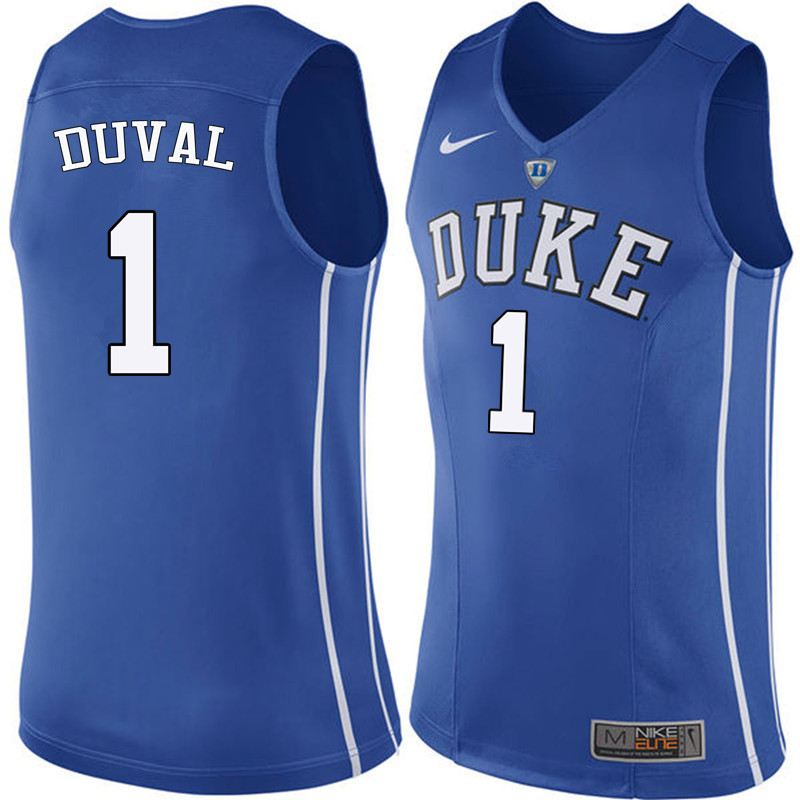 Men Duke Blue Devils #1 Trevon Duval College Basketball Jerseys Sale-Blue