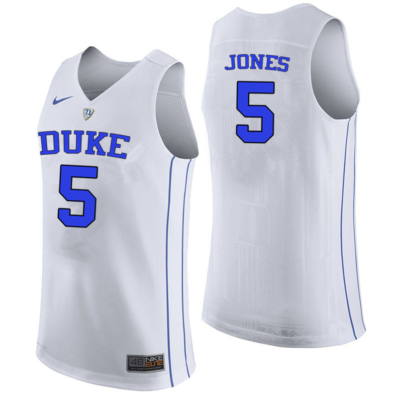 Men #5 Tyus Jones Duke Blue Devils College Basketball Jerseys-White