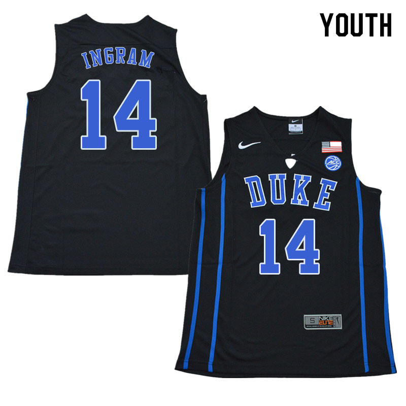 2018 Youth #14 Brandon Ingram Duke Blue Devils College Basketball Jerseys Sale-Black