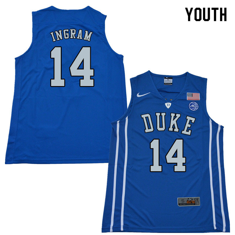 2018 Youth #14 Brandon Ingram Duke Blue Devils College Basketball Jerseys Sale-Blue