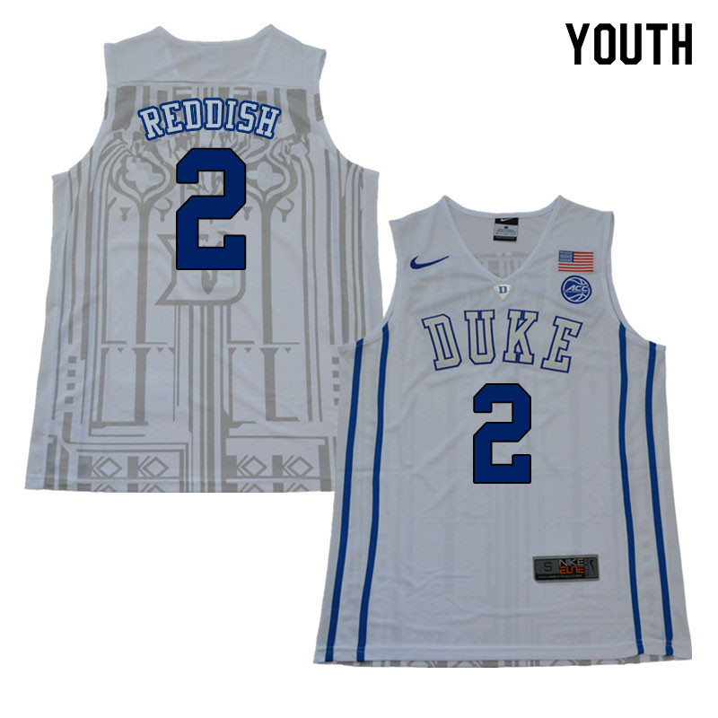 2018 Youth #2 Cam Reddish Duke Blue Devils College Basketball Jerseys Sale-White
