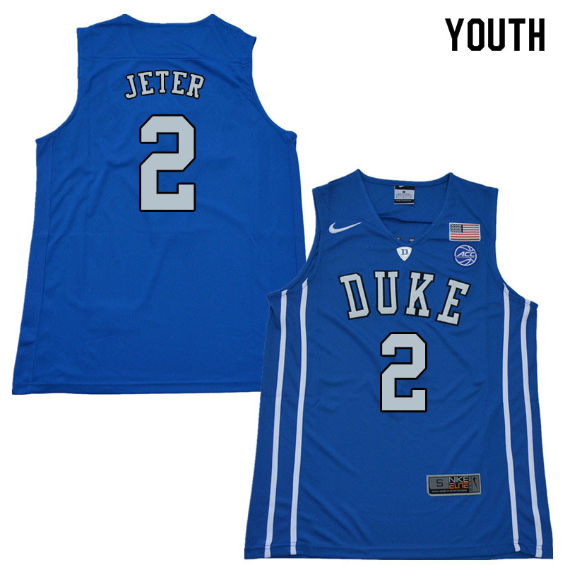 2018 Youth #2 Chase Jeter Duke Blue Devils College Basketball Jerseys Sale-Blue
