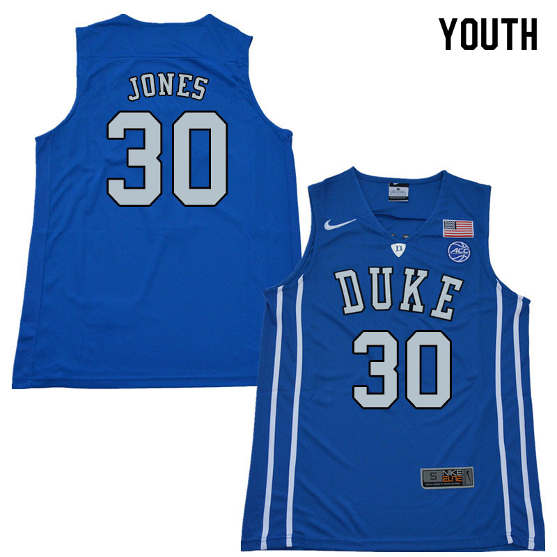 2018 Youth #30 Dahntay Jones Duke Blue Devils College Basketball Jerseys Sale-Blue