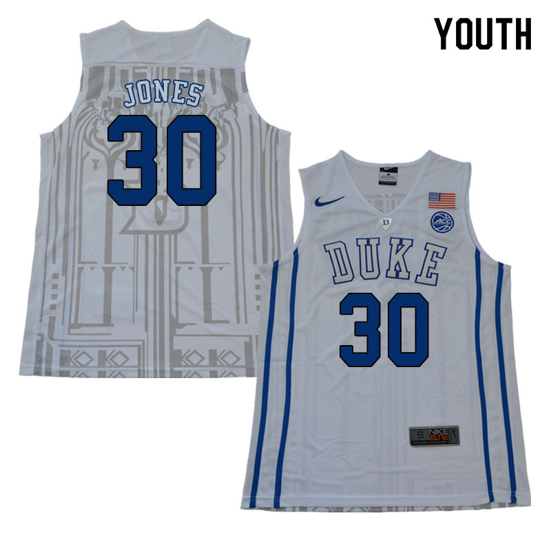 2018 Youth #30 Dahntay Jones Duke Blue Devils College Basketball Jerseys Sale-White