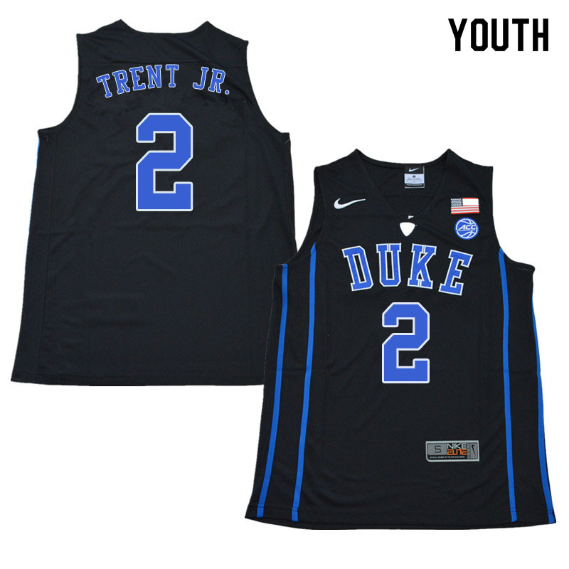 2018 Youth #2 Gary Trent Jr. Duke Blue Devils College Basketball Jerseys Sale-Black