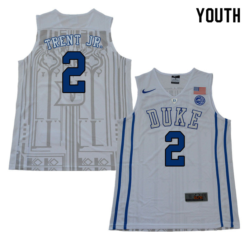 2018 Youth #2 Gary Trent Jr. Duke Blue Devils College Basketball Jerseys Sale-White