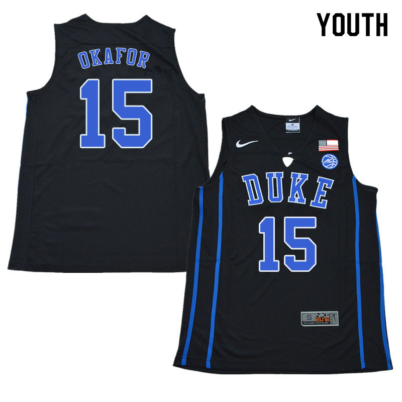2018 Youth #15 Jahlil Okafor Duke Blue Devils College Basketball Jerseys Sale-Black